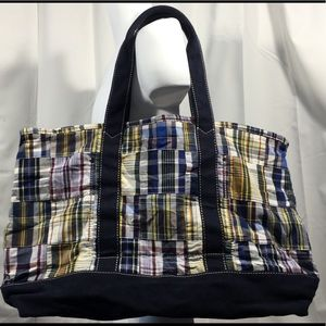 J Crew Patchwork Madras Patch Plaid Tote Beach Bag